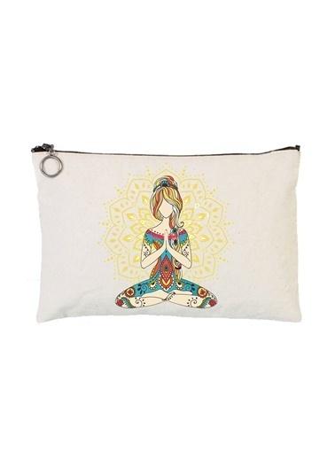 Art T-Shirt Art Tshirt Artrnd02318 Yoga Lotus Astarlı 30 X 21 Cm Bez Tablet Ve Makyaj Çantası Renkli Renkli